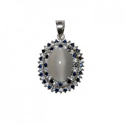Blue and White Sapphire Pendant